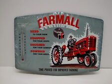 Farmall Thermometer Die-cut Embossed Tin Sign