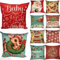 Christmas Xmas Santa Pillow Sofa Waist Throw Cushion Cover Case Home Decor Gifts
