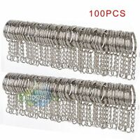 50/100Pcs Polished Silver DIY Key Rings Key Chain W/ Link Chain Key Holder 25mm