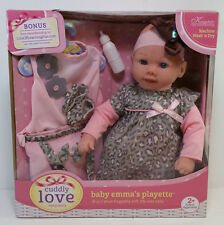 "CUDDLY LOVE BABY EMMA'S PLAYETTE 18"" DOLL HUGGABLY SOFT LIFE SIZE KINGSTATE NEW"