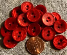 "24 Red Pearlized Front PLASTIC Sew-through 2-hole Buttons 9/16"" 14.5mm  # 4893"