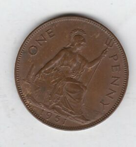 1951 GEORGE VI PENNY IN NEAR EXTREMELY FINE OR BETTER CONDITION