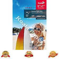 "Koala 50 Sheets 5x7"" Ultra Premium Luster Inkjet Printer Photo Paper Canon HP"