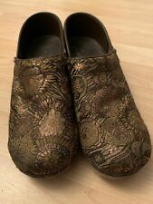 Sanita Womens Floral Patterned Brown 38 Professional Stapled Clogs Comfort Shoes