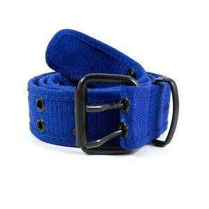 NEW Unisex 100% Cotton Canvas Belt Double Grommet Hole For Men Women Buckle Jean