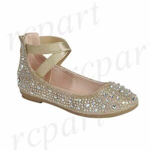 New girl's kids back zipper Gold rhinestones formal flower girl dress shoes