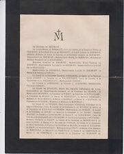 1924 FAIRE-PART DÉCÈS COMTE HECTOR-ATHANASE-MARIE-FERDINAND DE BIZEMONT.