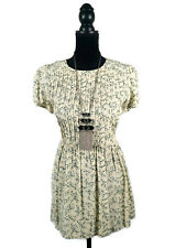 Vintage Mini Dress - Pleated Tie Waist Peasant Boho Floral Cream White Green - 8