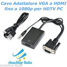 Cavo Adattatore VGA a HDMI fino a 1080p per HDTV PC Desktop, Laptop Macbook ecc
