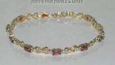 MAGNIFICENT ESTATE 10K YELLOW GOLD OVAL RED GARNET LADIES BRACELET 7 inches