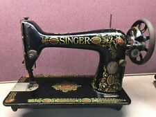 ANTIQUE SINGER RED EYE TREADLE SEWING MACHINE NO. 7881932 & BASE