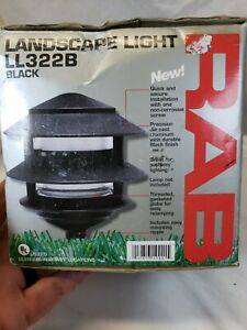 RAB Lighting LL322B Incandescent 3 Tier Lawn Light, A-19 Type, 75W Power