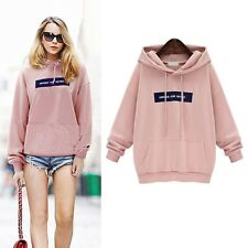 Women Sport Sweatshirt Hoodies Long Sleeve Hooded Jacket Pullover Pink Oversize