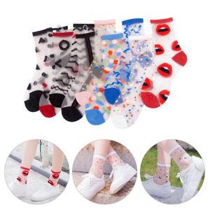 Women Ladies Transparent Ankle Socks Summer Breathable Mesh Cute Printed Socks