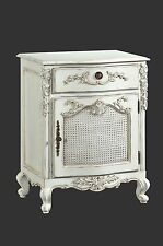 French Juliette Bowfront Bedside 1 Drawer & Cupboard Antique White Cfr0001p