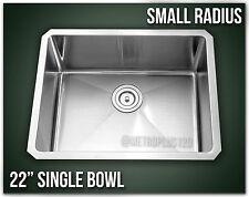 "22"" Single Bowl Undermount 16 Gauge 304 Stainless Steel Kitchen Sink Radius"