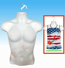 New - Male Mannequin Form & Hook, Trade Show Display Men Jersey T-Shirt - White