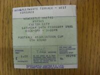 14/02/1981 Ticket: Newcastle United v Exeter City [FA Cup] (folded, creased). Fo