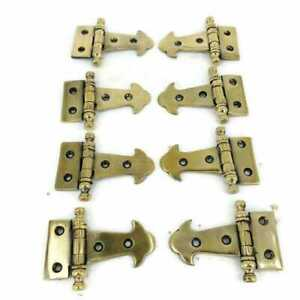 """8 Finial Small Door Box Hinges old Style Solid cast Antique Brass 6.3 cm 2.1/2"""""""