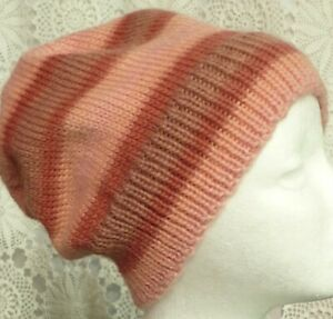 Unisex adult hand-knitted 100% Australian mur-wool slouchy-beanies sew-ezy-aust