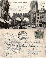 Verona, portoni della BRA', animata con tram, viag 1918, buono stato