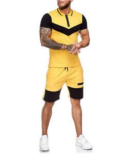 Men athletic Tracksuit  Short Sleeve Shirt Shorts Set 2 Piece Outfits Sportswear