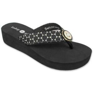 Lindsay Phillips Taylor Style SwitchFlops®  Flat Flip Flop Black White Dot strap