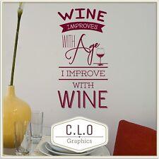 Wall Sticker Kitchen Quote Vinyl Transfer Decal Decor Wine Improves Art Graphic