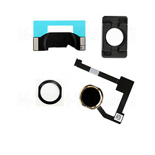 REPLACEMENT 4PC SET BLACK/GOLD HOME MENU BUTTON FLEX COMPLETE FOR IPAD AIR 2