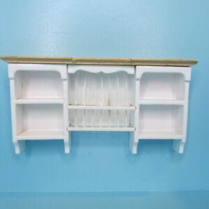 Dollhouse Miniature Wood White & Oak Wall Plate Holder & Shelf Unit T2621