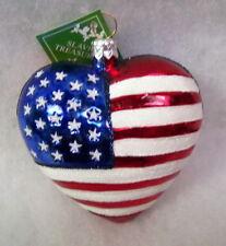 Slavic Treasures Glass Ornament - The Heart Of America (Patriotic)