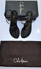New  Cole Haan Halsley Thong  Black Sandals Patent Leather Size 9.5 B   NO BOX
