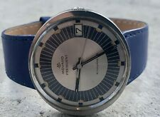 """Vintage Movado Kingmatic """"S"""" Automatic Men's Watch w/ Date Blue Details & Band"""
