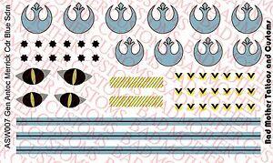 1/6 Scale Custom Waterslide Decals: Star Wars General Merrick Helmet Decals