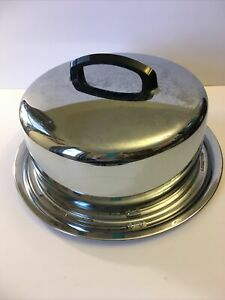 Vintage Everedy Chrome Cake Carrier With Locking Dome Cover Black Handle