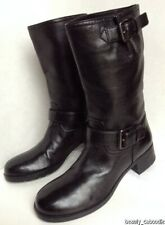 NEW Authentic PRADA Black Leather Bucklestrap Motocycle Boots (Size 36)