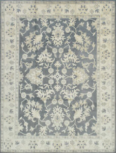 Oushak Rug, 9'x12', Grey/Ivory, Hand-Knotted Wool Pile