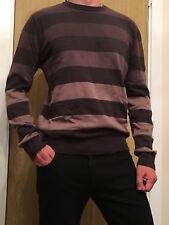 Men's BHS TRAIT Striped 100% Cotton Jumper - Size Medium