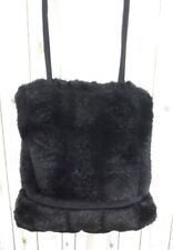 Suzy Smith Black Faux Fur Shoulder bag tote ladies purse vintage handbag shopper