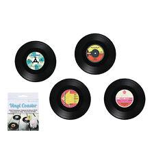 4 Vintage Style Vinyl Record Coasters - Novelty Drinking Mug Mats Coaster Music
