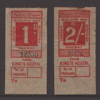 UK London Midland and Scottish Railway 1d & 2/- stamps from Kings Heath