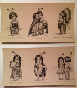 Schlesinger Bros. – 2 Antique Chief/Squaw sets of 3 Postcard Press sheet - ©1911