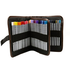 Canvas 72 hole Pencil Wrap Roll Case Bag Storage Stylish Makeup Holder Pouch
