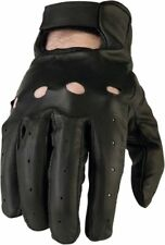 Z1R Men's 243 Perforated Leather Open-Back Motorcycle Gloves (Black) Medium