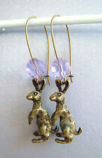 VINTAGE ART DECO FACETED LILAC CRYSTAL GLASS & BRONZE MOON GAZING HARE EARRINGS