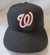 WASHINGTON NATIONALS NEW ERA 59FIFTY BLACK CAP HAT - SIZE 6-5/8 - SIGNED