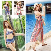 Women's 3 -piece Swimwear Push-up Bikini Set Padded Bra Swimsuit+Beach dress Hot