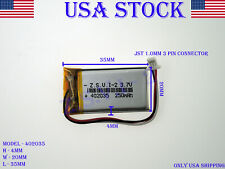 3.7V 250mAh 402035 Lithium Polymer LiPo Rechargeable Battery (USA STOCK)