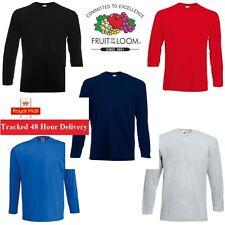 1 2 3 5 Pack Men's Fruit of the Loom Long Sleeve Plain Tee Shirt Top Cotton LOT