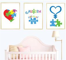 Autism Awareness Set of 3 Wall Art Print Home Decor Children Nursery Kids Poster